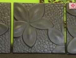 01047 Frangipani Wall Plaques Slate